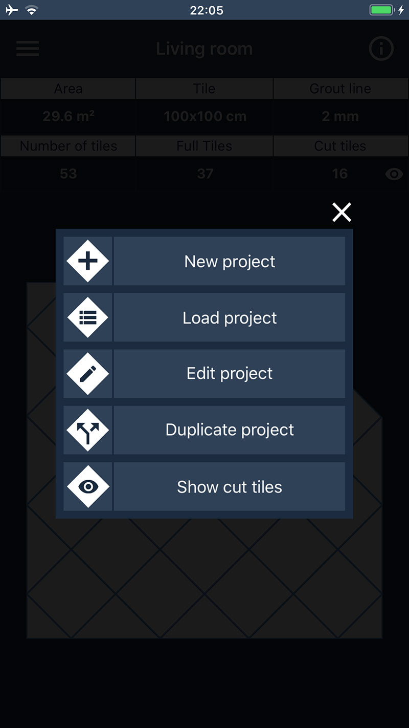 The menu for project management and display of cut tiles.